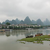 Yangshuo. Famous Karst formations in background along the Li River. China