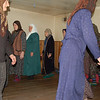 Women doing walking dance Naqsbandi Zikr or Sufi ritual. They walk in a circle and chant as they go. Pankisi Valley, Georgia