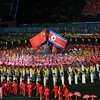 Scene shows North Korea's tribute to China, a key friendship whose aid and trade is key to keeping the Kim regime afloat. May Day Stadium, Pyongyang, North Korea