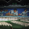 """Ever present themes depicted in our North Korean tour hinted at here: Unity of purpose and discipline of all North Koreans, a martial and militaristic nation and the mass choreography of society under the command of the """"Great"""" Leaders. Mass Games, Pyongyang"""