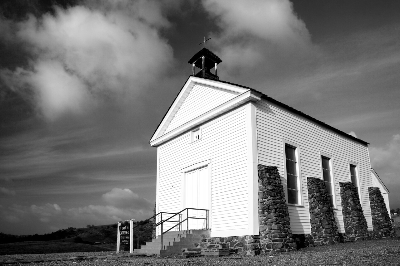 Saint Catherine's  Church with Clouds in B/W