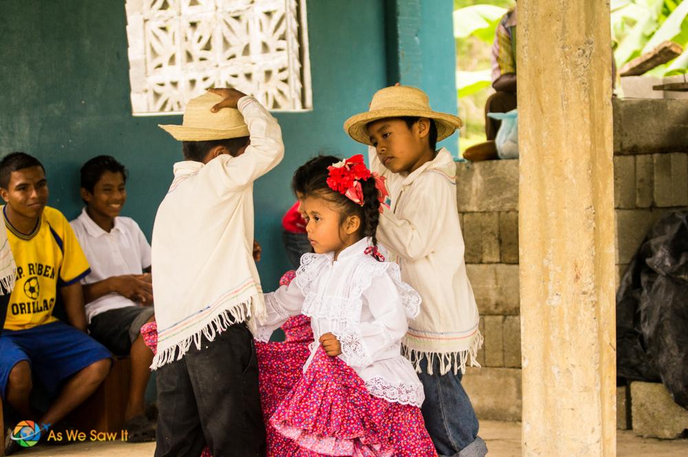 children dance for visitors
