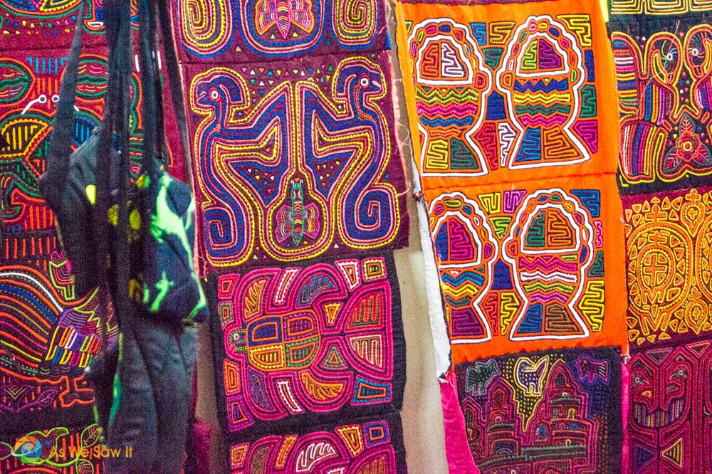 Kuna Yala hand-sowen Molas available at Panama Viejo Museum gift shops.