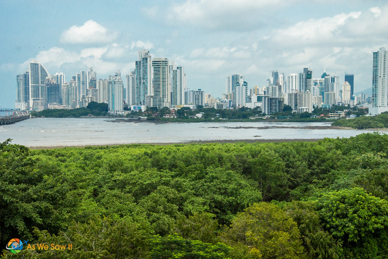 View of the New Panama City from inside the tower at Panama Viejo