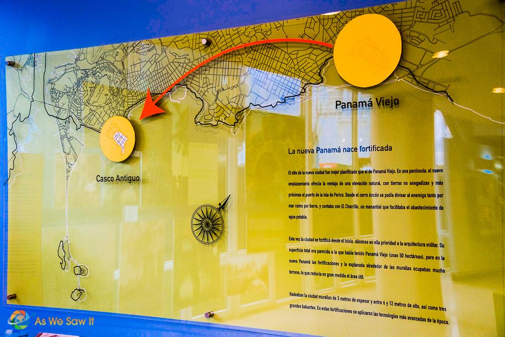 Panama Viejo to Casco Viejo map with modern day Panama City