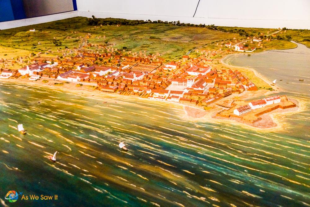 Model of Panama Viejo before Capt. Morgan attacked it