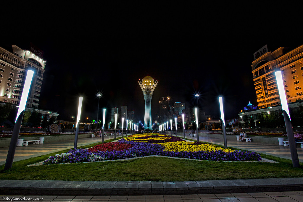 Bayterek-tower-night-Astana-Kazakhstan