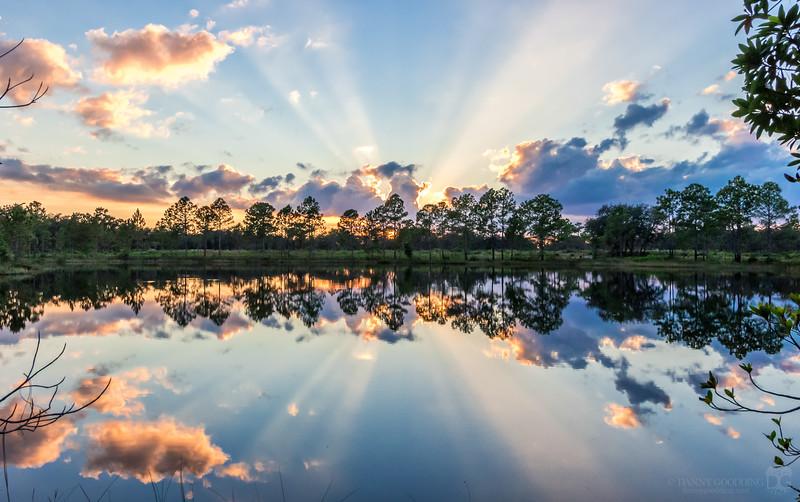 Crepuscular sun ray reflection