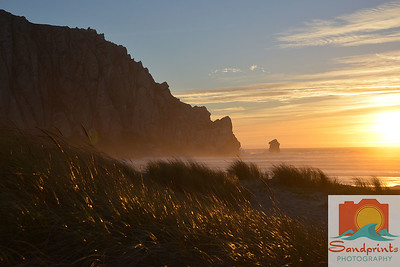 Morro Rock dunes at sunset w