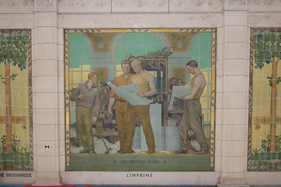 The murals in the former Reading Room