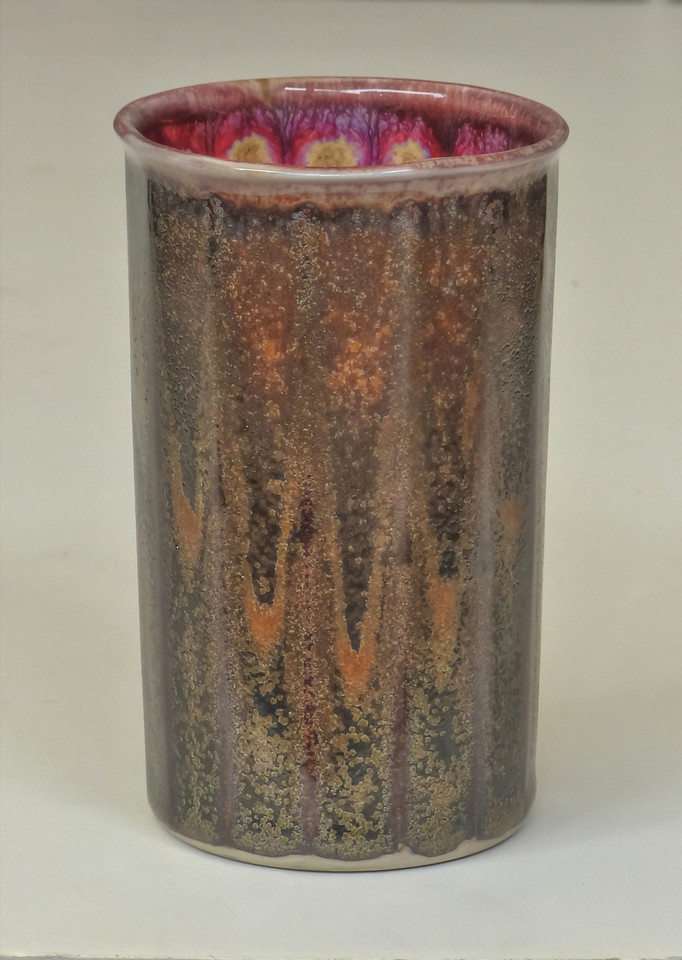 cast cup with manganese crystal glaze-cone 10