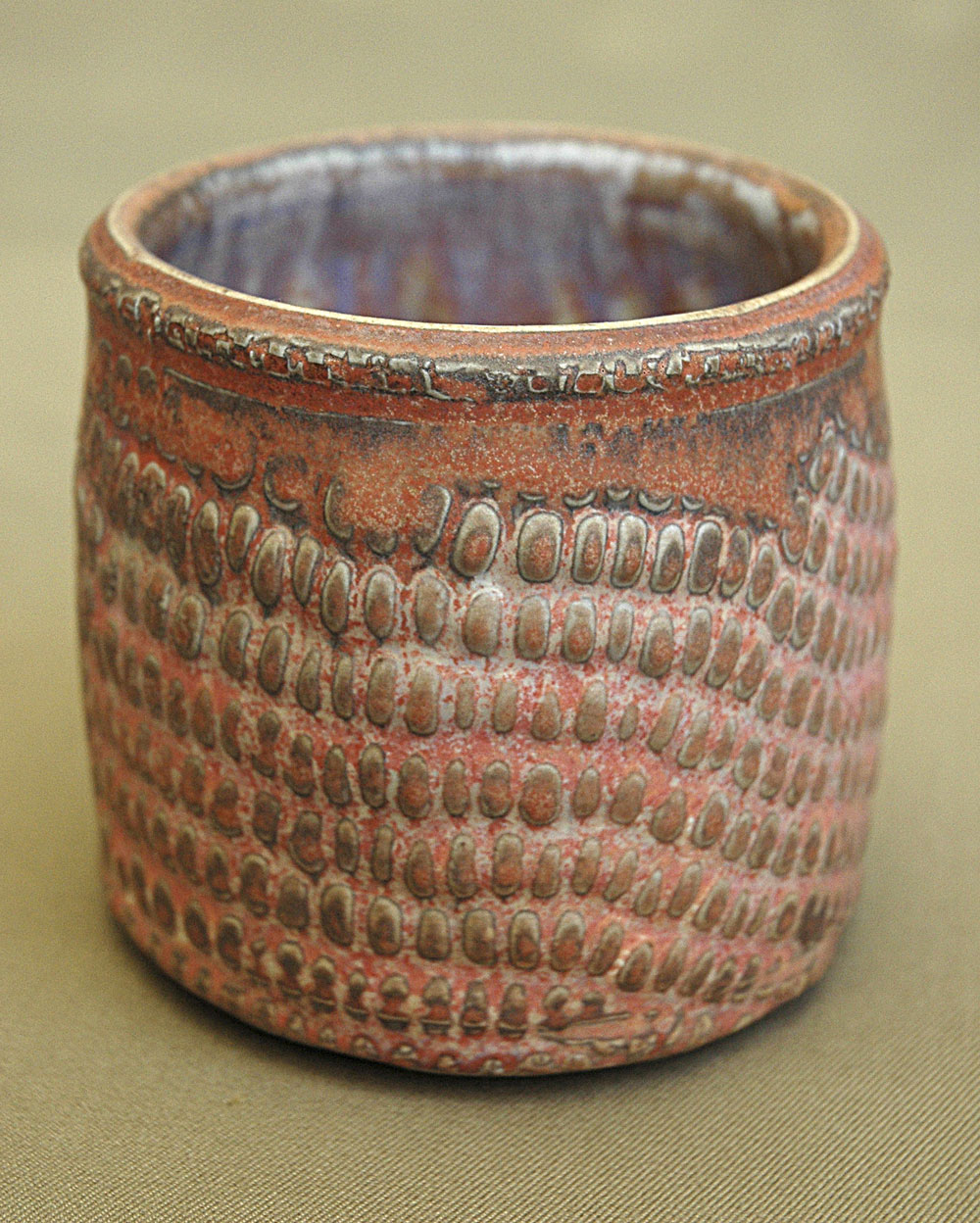 "cupp with corn texture - 3"" x 3"" - layered glazes"
