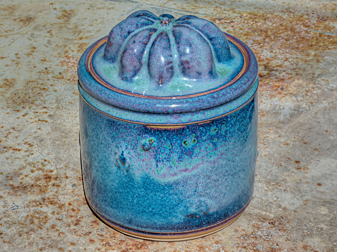cone 10 reduction copper glaze - squash lid jar - 7 inches high - 6 inches wide