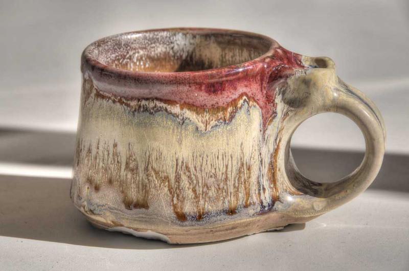 small mug with copper & titanium glazes - cone 8 Reduction firing