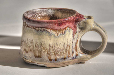 small mug with copper & titanium glazes - cone 8 Reduction firing