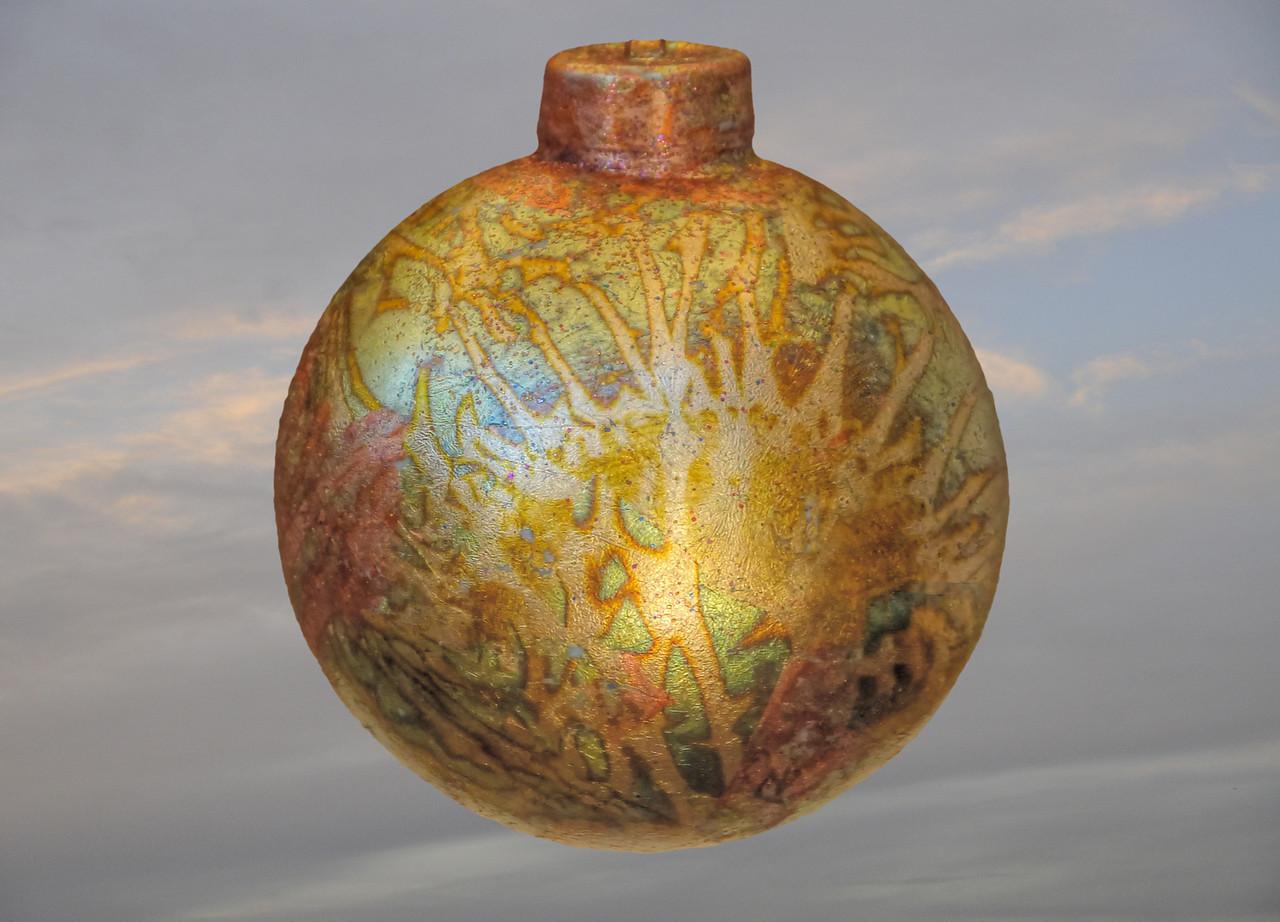 Christmas ornament #9-slipcast porcelain-weighs under 2 ounces - diameter 3 inches
