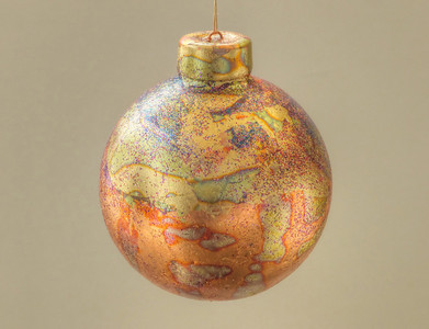 "porcelain Christmas ornament #1 - 3"" in diameter - weighs under 2 ounces (40 gms)"