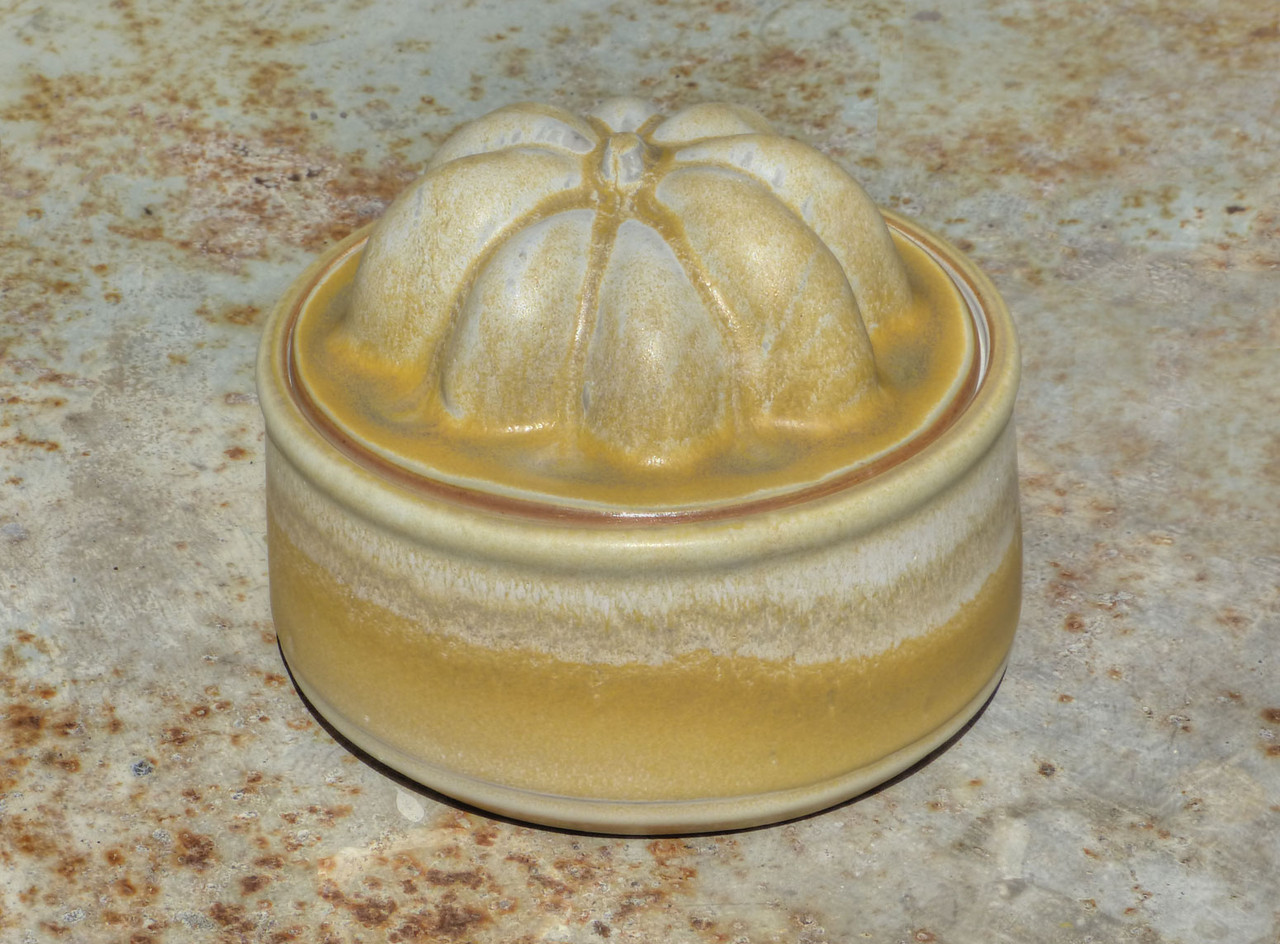 low jar with squash lid - rutile over titanium at cone 10