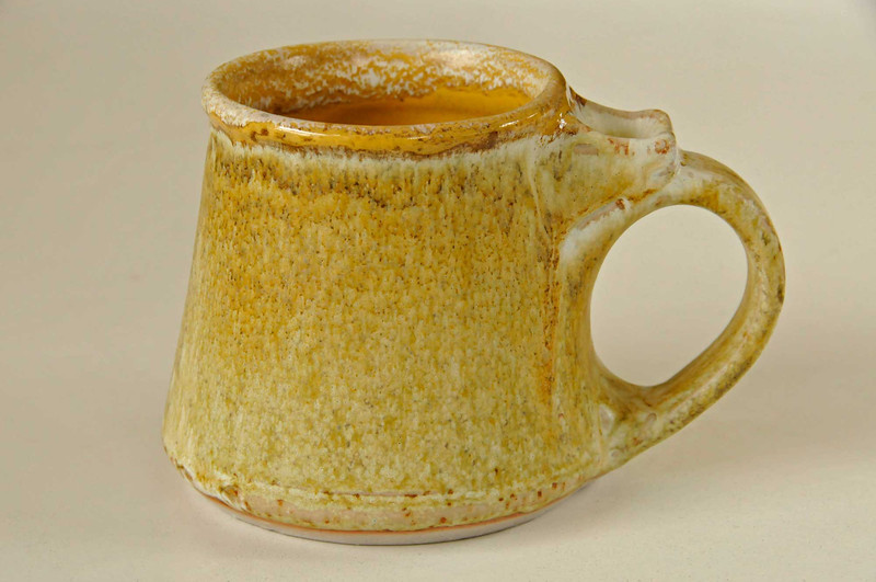 yellow mug-cone 10 - cerdec orange rim & inside