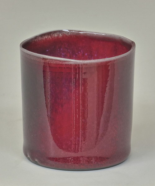 small slipcast cup-copper red glaze