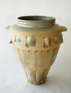 """vase - wood fired cone 10, size 13"""" x 11"""" x 10"""""""