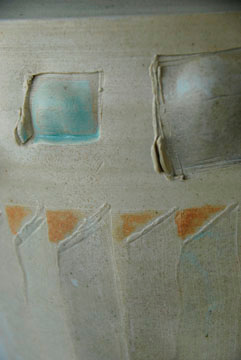 """vase (detail) - wood fired cone 10, size 13"""" x 11"""" x 10"""""""