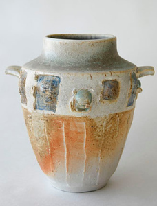 """vase - wood fired, cone 10, size: 9"""" x 8"""" x 6"""""""