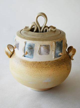 """covered jar - wood fired, cone 10, size: 9"""" x 8"""" x 7"""""""