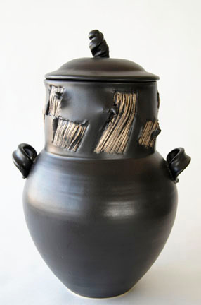 """covered jar - electric fired cone 6, size: 18"""" x 11"""" x 10"""""""
