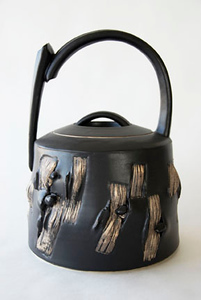 "basket covered jar - electric fired, cone 6, size: 13"" x 9"" x 9"""