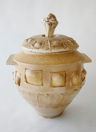 """covered jar - wood fired, cone 10, size: 14""""x 11"""" x 9"""""""