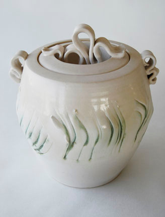 """covered jar - electric fired, cone 6, size: 10"""" x 9"""" x 8"""""""
