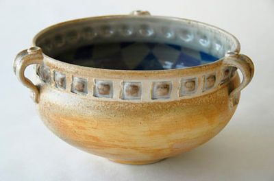 "bowl - wood fired, cone 10, size: 6"" x 12"" x 12"""