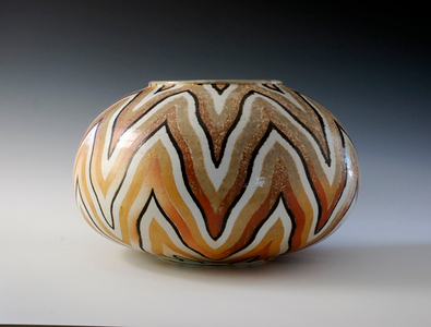 "Wavy Striped Vase 8.25""x 12.5""x 12.5"" Cone 10 Wood Fired Porcelain"