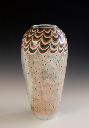 "Swags & Dots Vase 11.5""x5.5""x5.5"" - Porcelain with Slip Decoration Wood-fired Cone 10"