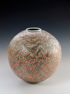 "Draped Vase 8.5"" x 8.5"" x 8.5"" Cone 10 Wood Fired Porcelain"