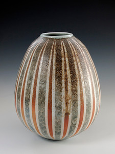 "Striped Vase 7"" x 6"" x 6"" Cone 10 Wood Fired Porcelain (SOLD)"