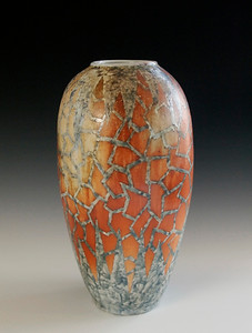 "Crazed Vase #1 12.5""x 6""x 6""- Porcelain with Slip Decoration Wood-fired Cone 10 (SOLD)"