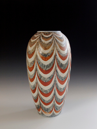 "Swagged Vase 13""x7""x7"" - Porcelain with Slip Decoration Wood-fired Cone 10"