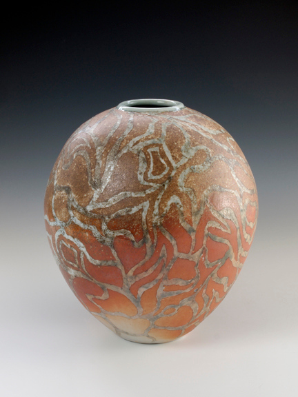 """Abstract Lines Vase 7""""x 6"""" x6"""" Cone 10 Wood Fired Porcelain"""