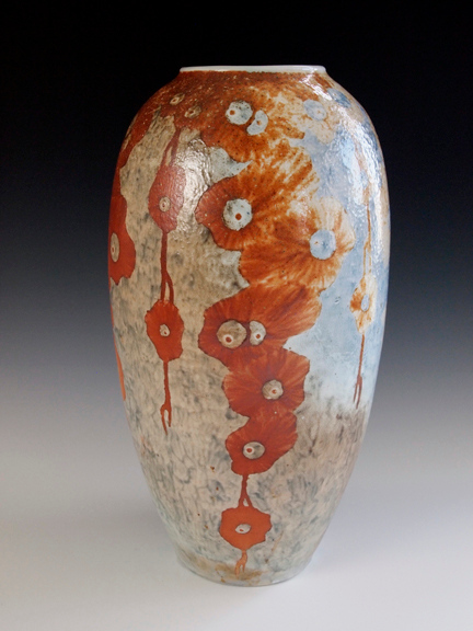 """Floral Vase 12.5""""x6""""x6"""" - Porcelain with Slip Decoration Wood-fired Cone 10"""