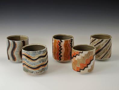 "Set Of Tumblers 4"" x 3.5"" x 3.5"" Cone 10 Wood Fired Porcelain"