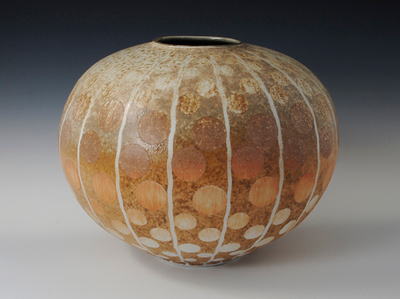 "Floating Disc Vase 10"" x 12.5"" x 12.5"" Cone 10 Wood Fired Porcelain"