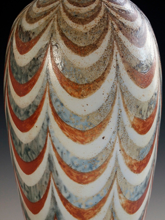 """Swagged Vase 13""""x7""""x7"""" - Porcelain with Slip Decoration Wood-fired Cone 10"""
