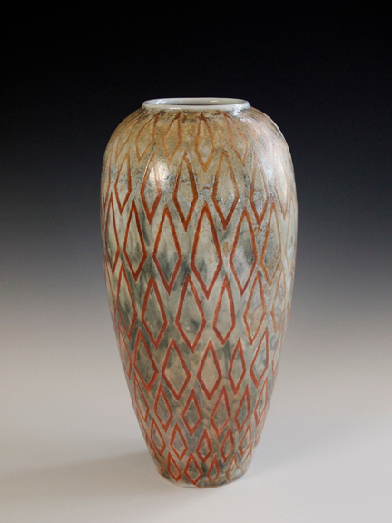 """Diamond Outline Vase 10.5""""x5""""x5"""" - Porcelain with Slip Decoration Wood-fired Cone 10"""