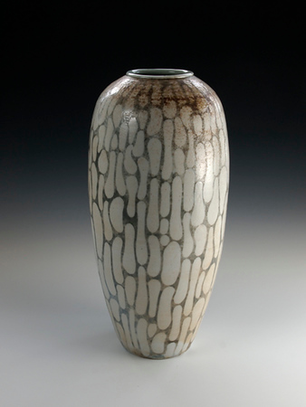 "Oval Design Vase 16""x6""x6"" Cone 10 Wood Fired Porcelain (SOLD)"