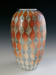 "Diamond Vase 12""x6""x6"" Porcelain with Slip Decoration Wood-fired Cone 10"