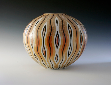 "Pin Striped Vase 10.5""x 12""x 12"" Cone 10 Wood Fired Porcelain"
