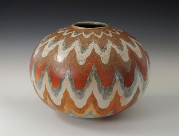 "Wood Grain Vase 9"" x 12"" x 12"" Wood Fired Cone 10 Porcelain"