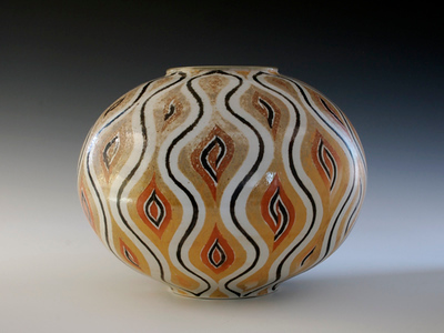 "Flame Vase 9""x 11""x 11"" Cone 10 Wood Fired Porcelain"